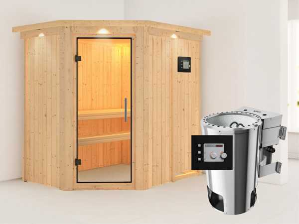Sauna Systemsauna Saja mit Dachkranz, Klarglas Ganzglastür + Plug & Play Bio-Ofen mit ext. Strg.