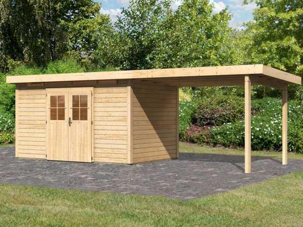 Gartenhaus SET Kerpen 5 CLASSIC 28 mm naturbelassen, inkl. 3,2 m Anbaudach