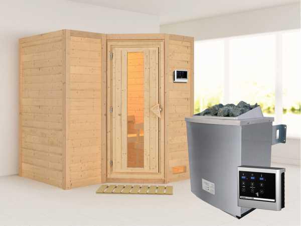 Massivholzsauna Sahib 1 Holztür mit Isolierglas, inkl. 9 kW Ofen ext. Steuerung