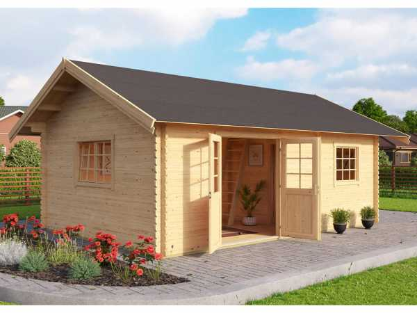 Gartenhaus Blockbohlenhaus Caroline Set Gold 40 mm carbongrau
