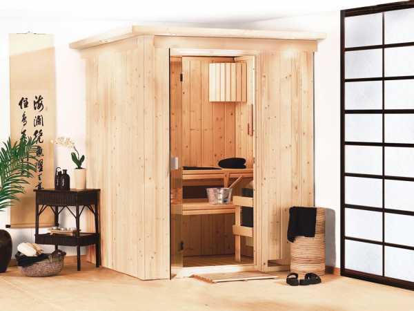 Sauna Systemsauna Minja mit Dachkranz