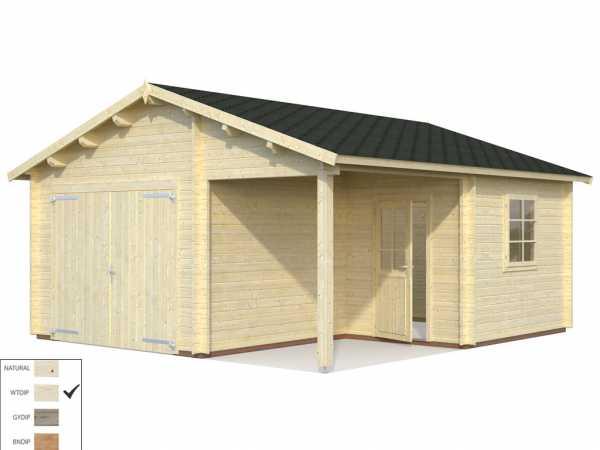 Garage Roger 21,9+5,2 m² mit Holztor 44 mm transparent tauchimprägniert