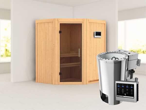 Sauna Systemsauna Tonja graphit Ganzglastür + Plug & Play Bio-Ofen mit externer Steuerung