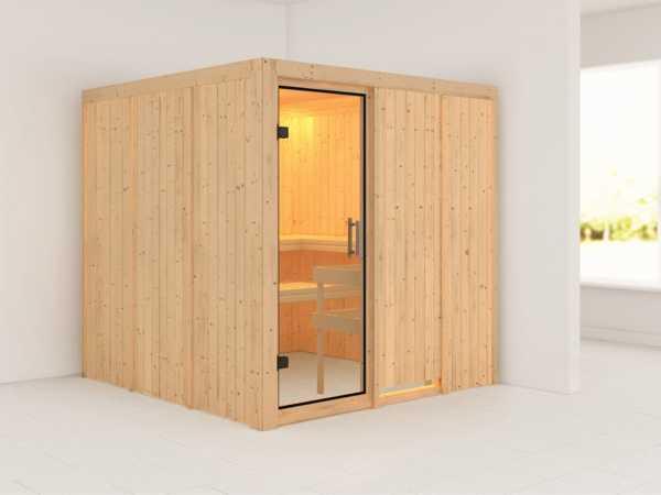 Sauna Systemsauna Rodin Klarglas Ganzglastür