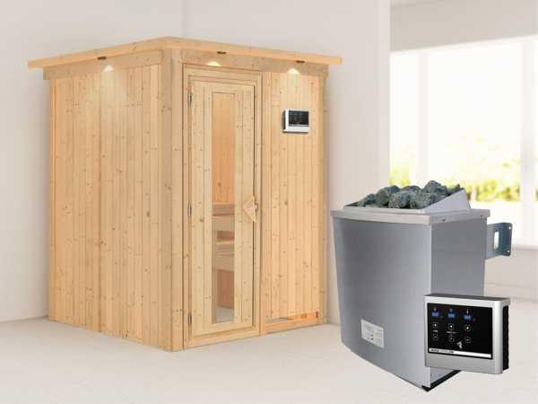"""Systemsauna """"Norin"""" mit Dachkranz, Holztür mit Isolierglas, inkl. 9 kW Saunaofen ext. Steuerung"""