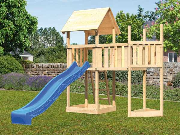 Spielturm SET Lotti naturbelassen inkl. Rutsche blau + Anbauplattform + Schiffsanbau oben