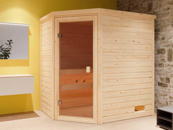 """Sauna Systemsauna """"Valida 2"""" bronzierte Ganzglastür inkl. 9 kW Bio-ofen mit ext. Steuerung"""