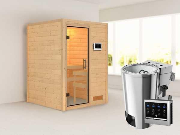 Sauna Massivholzsauna Nadja Klarglas Ganzglastür + Plug & Play Bio-Ofen mit externer Steuerung