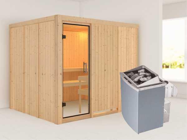 Sauna Systemsauna Gobin Klarglas Ganzglastür + 9 kW Saunaofen mit Steuerung