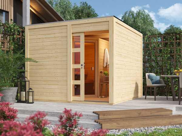 Saunahaus Caju mit Schiebetür, inkl. 9 kW Ofen mit integrierter Steuerung