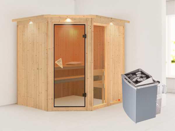 Sauna Systemsauna Fiona 2 mit Dachkranz, inkl. 9 kW Saunaofen integr. Steuerung