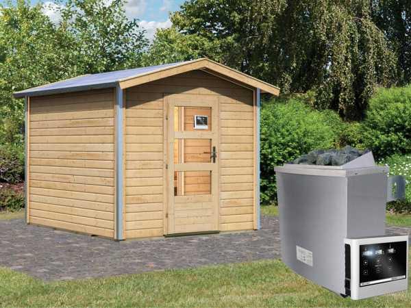 Saunahaus Bosse 1 mit Klarglastür & Vorraum, inkl. 9 kW Saunaofen mit externer Steuerung