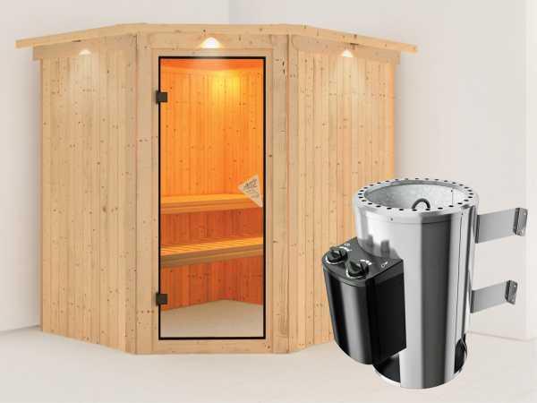 Sauna Systemsauna Plug & Play Lilja mit Dachkranz, inkl. 3,6 kW Saunaofen integr. Steuerung