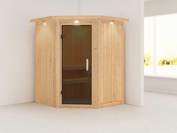 Sauna Systemsauna Nanja mit Dachkranz, graphit Ganzglastür