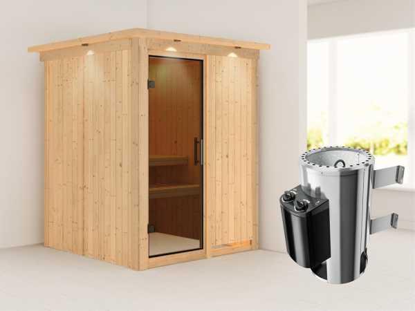 Sauna Systemsauna Minja mit Dachkranz, graphit Ganzglastür + Plug & Play Saunaofen mit Steuerung