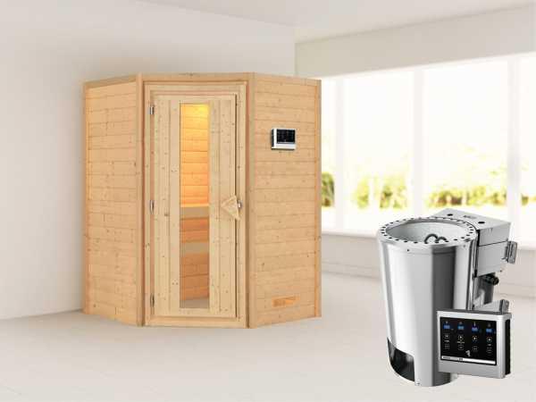 Sauna Massivholzsauna Alicja Energiespartür + Plug & Play Bio-Ofen mit externer Steuerung