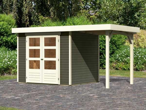 Gartenhaus SET Askola 3 19 mm terragrau, inkl. 1,5 m Anbaudach