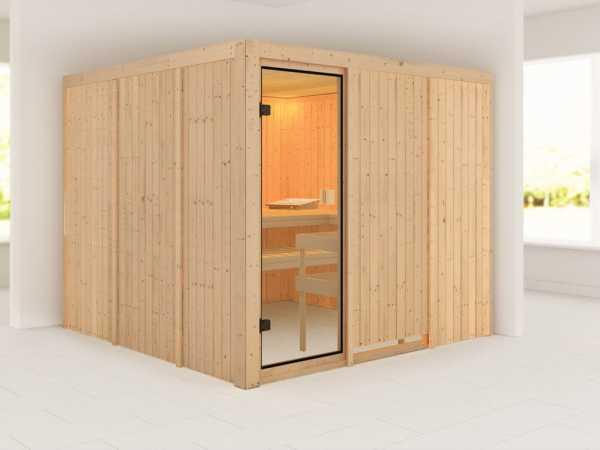 """Sauna """"Arvika"""" mit bronzierter Glastür"""