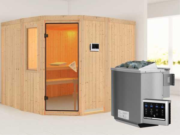 Sauna Systemsauna Simara 3 mit Fenster, inkl. 9 kW Bio-Kombiofen ext. Steuerung