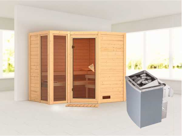 Sauna Massivholzsauna Amara inkl. 9 kW Saunaofen integr. Steuerung