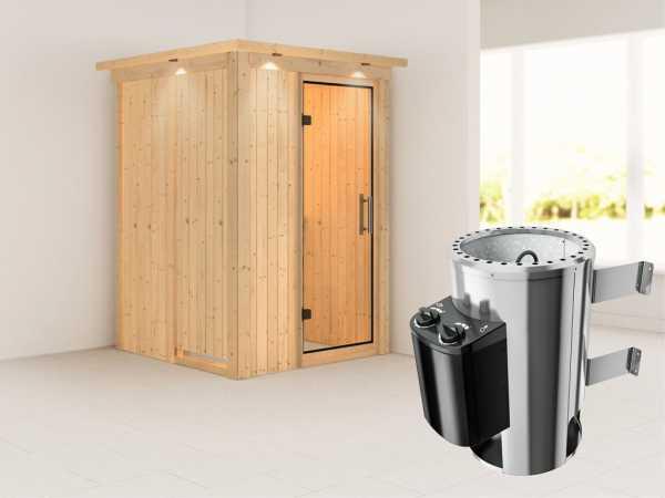Sauna Systemsauna Lenja mit Dachkranz, Klarglas Ganzglastür + Plug & Play integrierte Steuerung