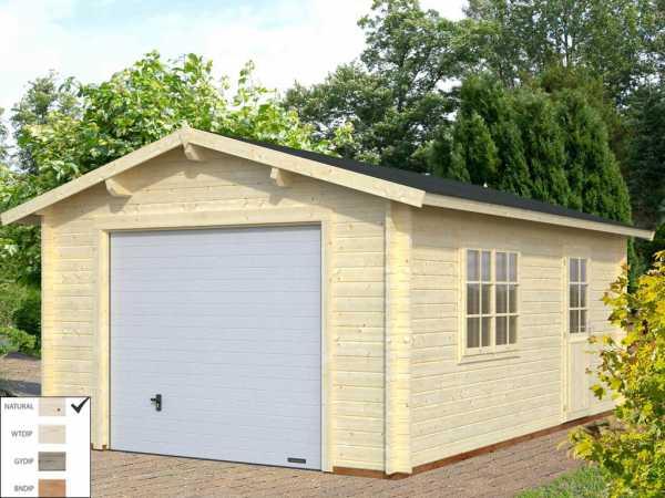 Garage Roger 19,0 m² mit Sektionaltor 44 mm naturbelassen
