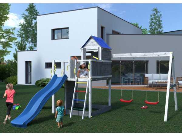 "Spielturm SPARSET ""Treehouse"" grau/weiß inkl. Rutsche blau"
