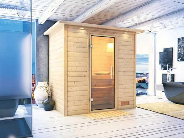 Sauna Massivholzsauna Ronja mit Dachkranz, Klarglas Ganzglastür