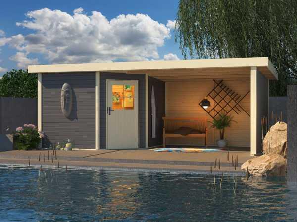 Gartenhaus SET Neuruppin 3 28 mm terragrau, inkl. 3,2 m Anbaudach + Seiten- und Rückwand