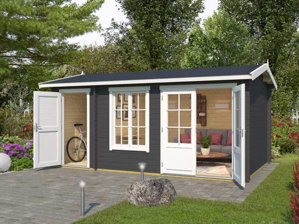 Gartenhaus Blockbohlenhaus Wrexham 2 44 mm carbongrau