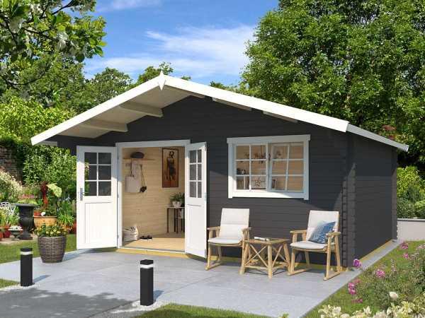 Gartenhaus Blockbohlenhaus Gotland 6F 40 mm carbongrau