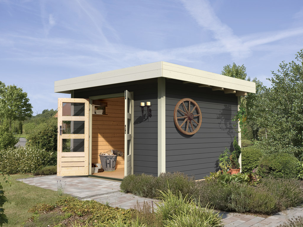 gartenhaus sparset multi cube 4 classic 28 mm terragrau. Black Bedroom Furniture Sets. Home Design Ideas
