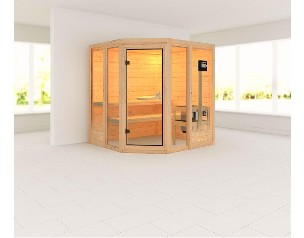 sauna massivholzsauna sinai 2 inkl 9 kw saunaofen ext steuerung ka3034. Black Bedroom Furniture Sets. Home Design Ideas