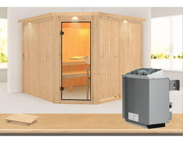 sauna systemsauna farin mit dachkranz inkl 9 kw saunaofen integr steuerung systemsauna. Black Bedroom Furniture Sets. Home Design Ideas
