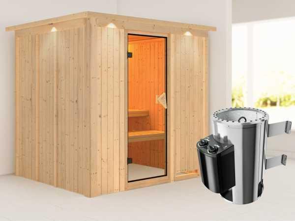 Sauna Systemsauna Daria mit Dachkranz, inkl. Plug & Play Saunaofen Steuerung