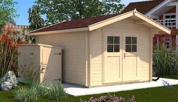 Gartenhaus Premium28 Gr. 1 28 mm natubelassen mit 60 cm Vordach