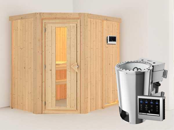 Sauna Systemsauna Saja Energiespartür + Plug & Play Bio-Ofen mit ext. Steuerung