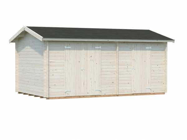 Gerätehaus Blockbohlenhaus Jari 14,5 m² 28 mm transparent tauchimprägniert