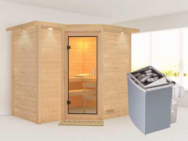 Sauna Massivholzsauna Sahib 2 mit Dachkranz, Klarglas Ganzglastür + 9 kW Saunaofen mit Steuerung