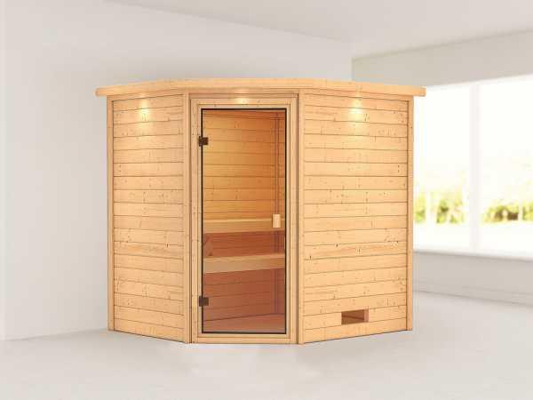 """Sauna """"Elea"""" mit bronzierter Glastür und Dachkranz"""