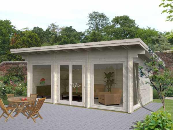 Gartenhaus Blockbohlenhaus Heidi 19,7 m² 70 mm naturbelassen